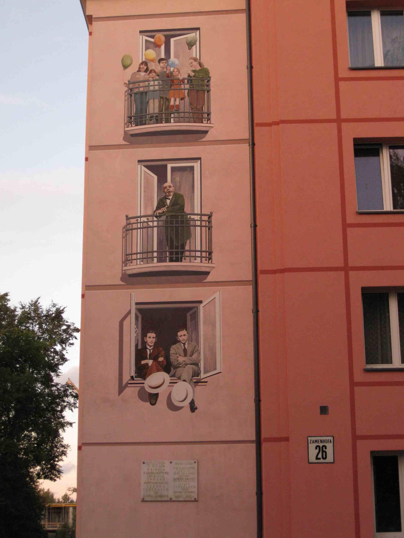 Esperanto-Wandbild in Bialystok