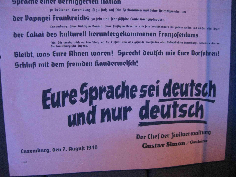 Nazis wollten die Luxemburger zum Deutschsprechen erziehen (Plakat in der Dresdner Ausstellung)